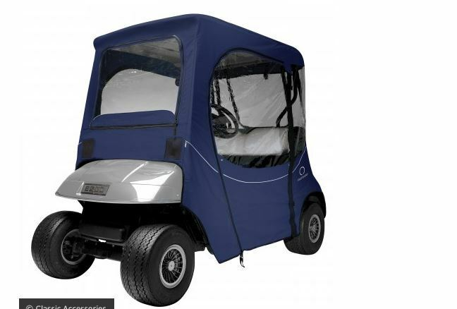 One Person Golf Cart >> EZ Go Golf Cart Enclosure Custom Fit - 2 Person Car Navy Blue | eBay