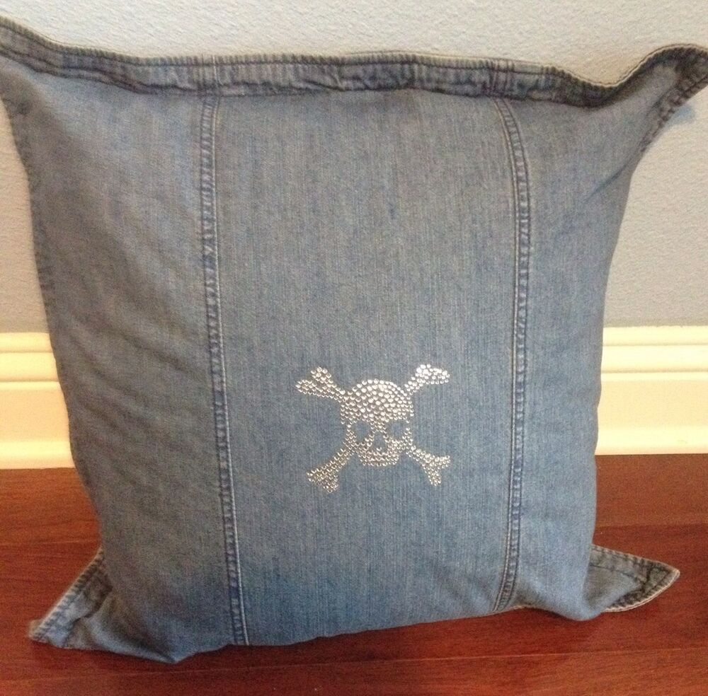 Ralph Lauren Decorative Couch Pillows : 2 Ralph Lauren Skull Rhinestones Denim Polo Throw decorative Pillow eBay