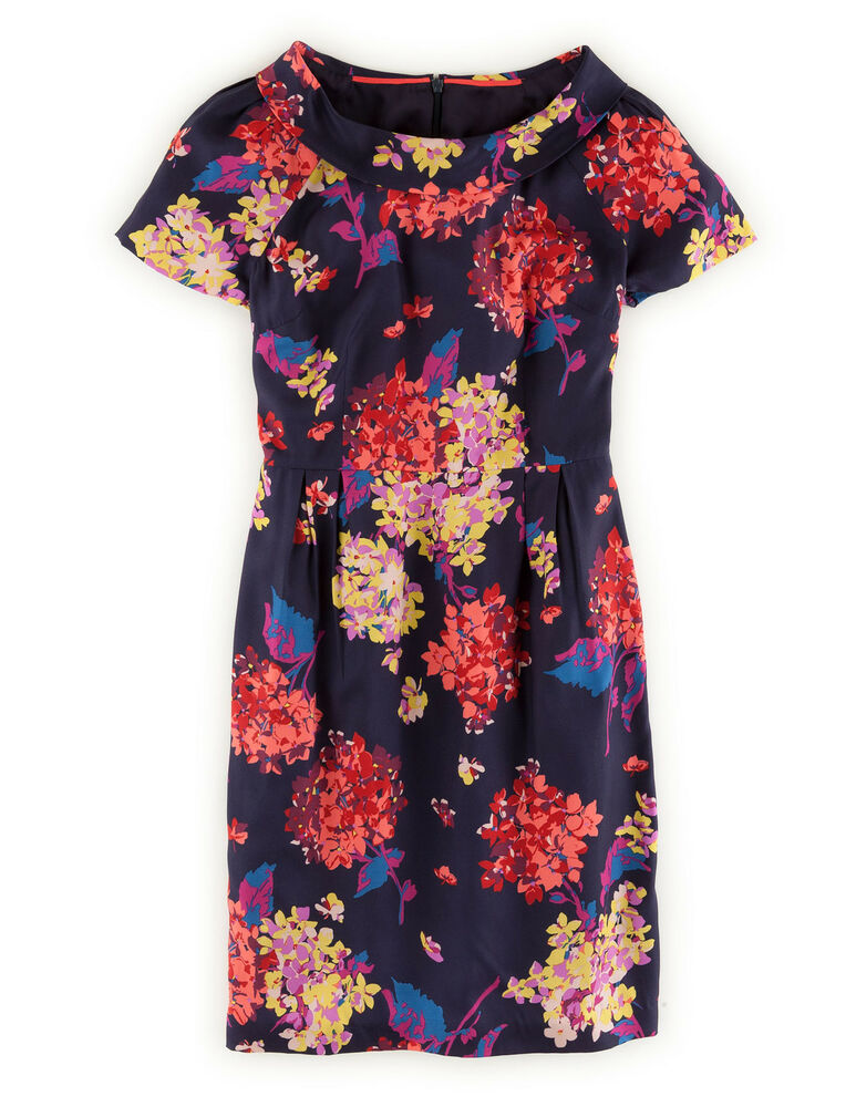 boden women 39 s brand new roll collar dress navy blue statement floral with silk ebay. Black Bedroom Furniture Sets. Home Design Ideas