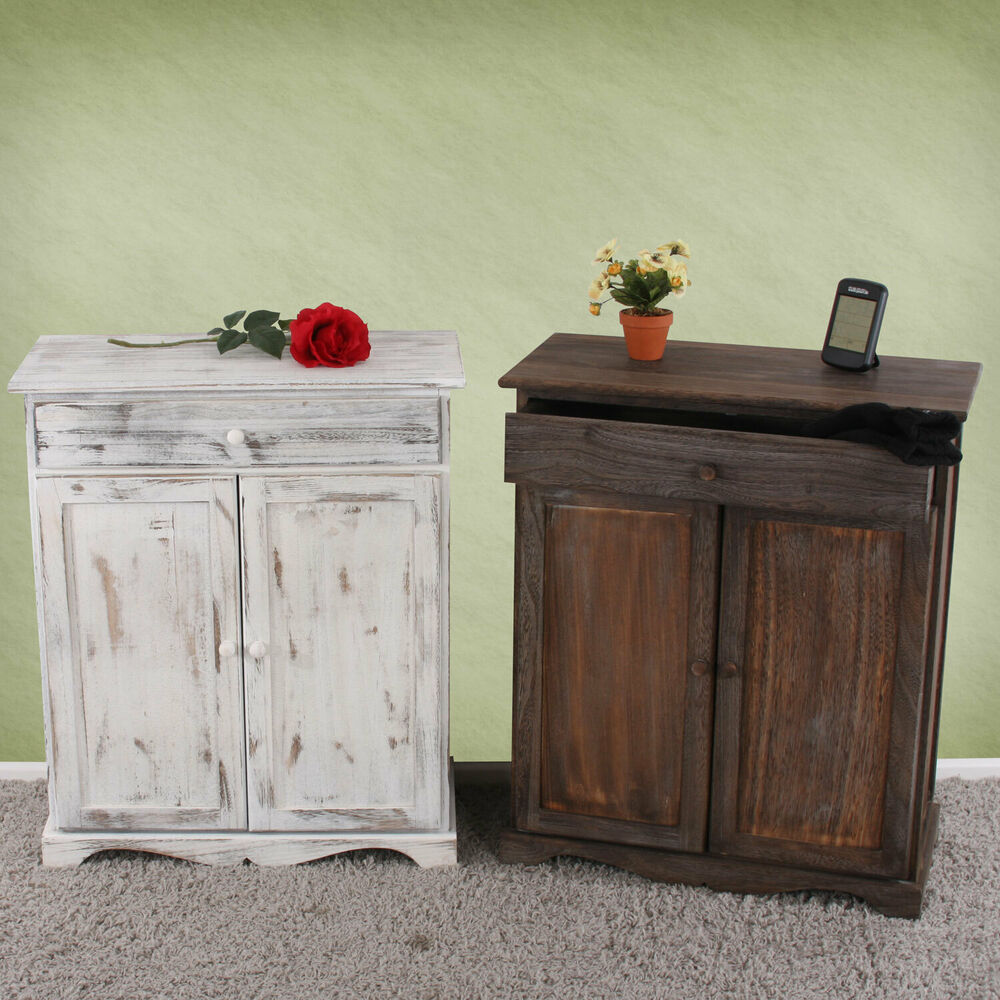 kommode schrank 78x66x33cm shabby look vintage wei braun dunkelgrau ebay. Black Bedroom Furniture Sets. Home Design Ideas