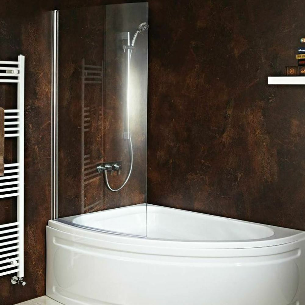 Carolina corner bath with hinged curved shower screen for 3 bath
