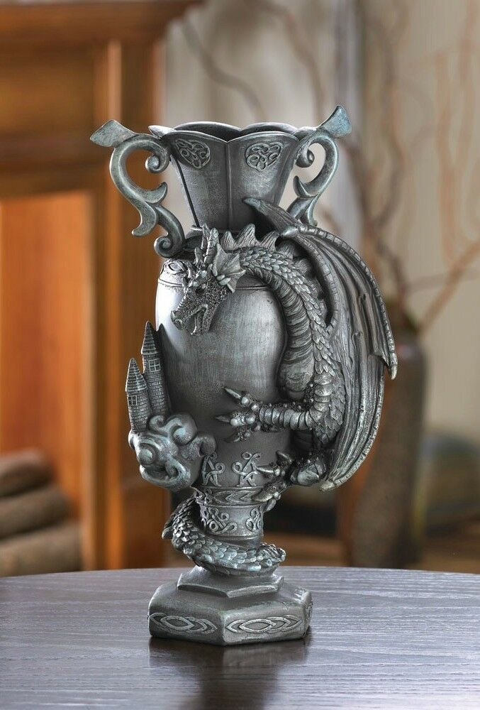 Medieval dragon kingdom middle ages flower chalice vase