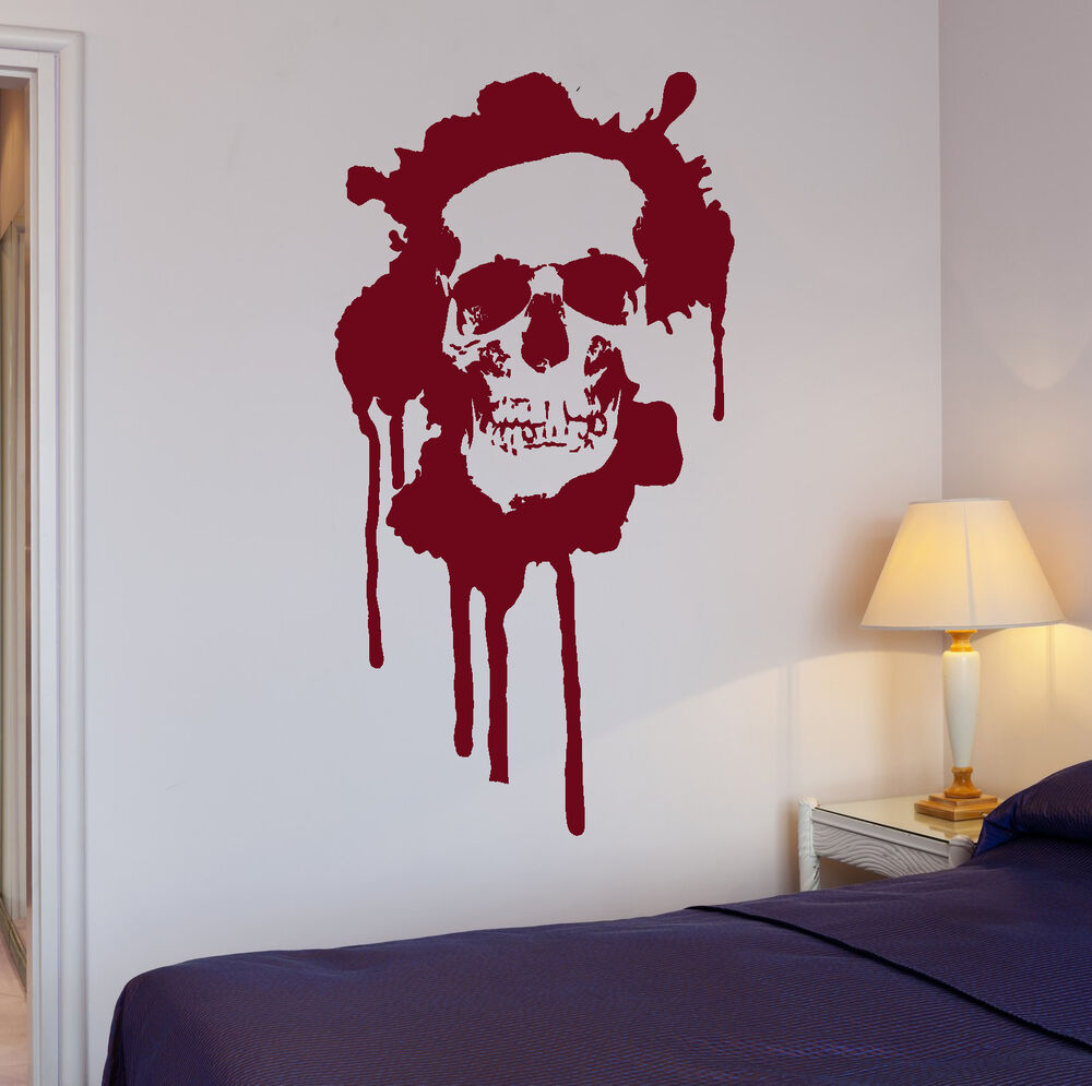 wall stickers blood horror skull death teen room art mural vinyl decal ig2003 ebay. Black Bedroom Furniture Sets. Home Design Ideas