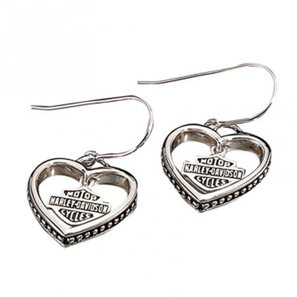 Harley davidson sterling silver ladies heart earrings for Harley davidson jewelry ebay