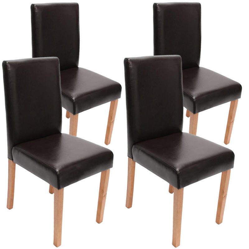 4x esszimmerstuhl stuhl lehnstuhl littau leder braun helle beine ebay. Black Bedroom Furniture Sets. Home Design Ideas