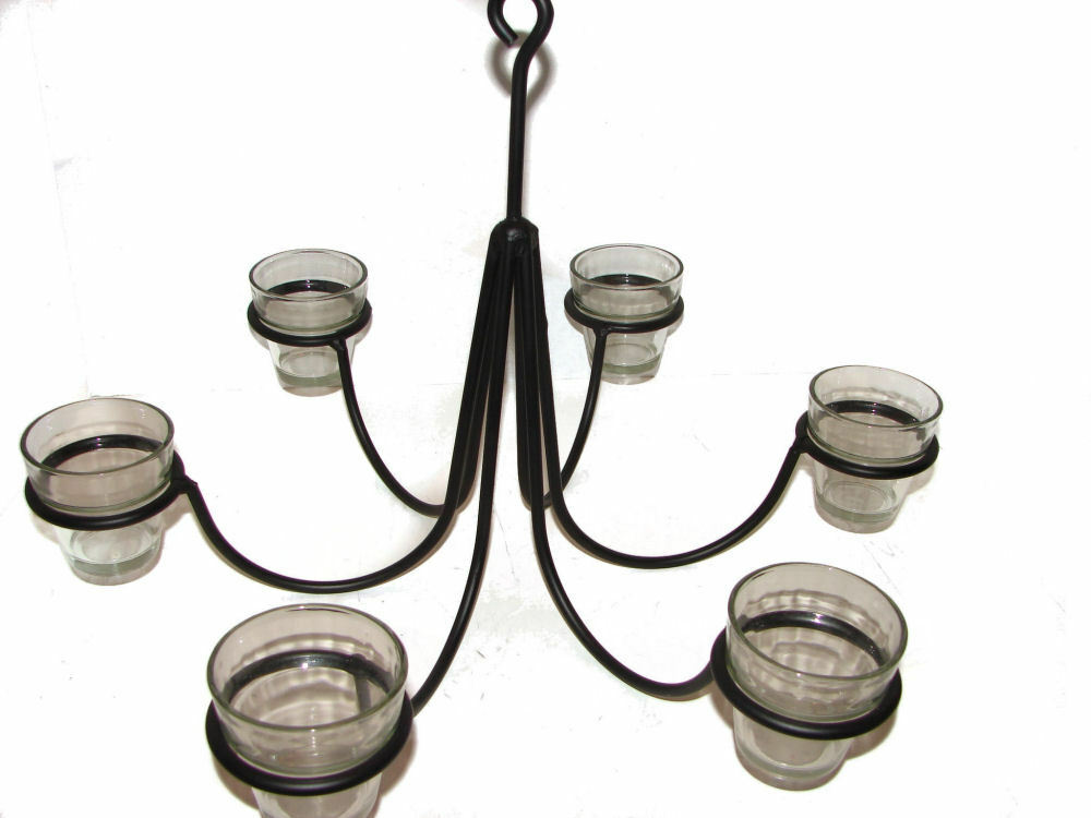 Black Wrought Iron 6 Arm Votive Candle Chandelier USA ... on Wrought Iron Outdoor Candle Sconces id=63534
