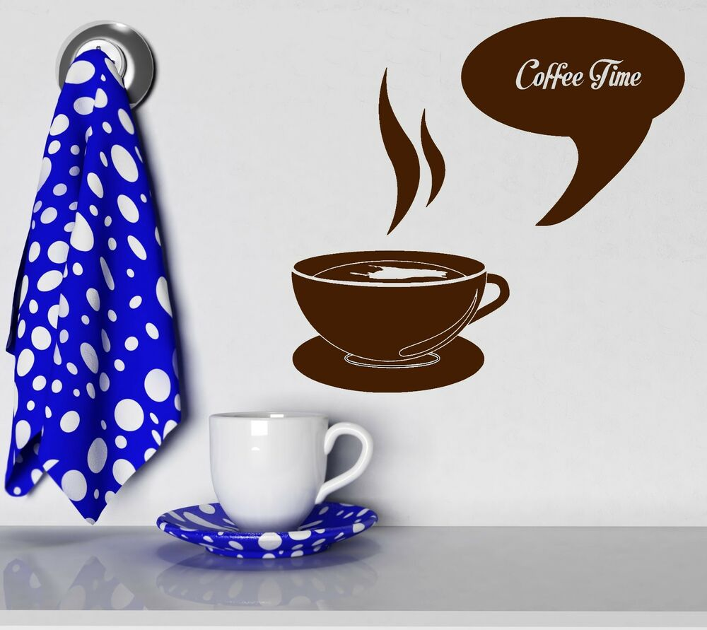 Wall stickers coffee time cup shop kitchen decor art mural for Mural coffee