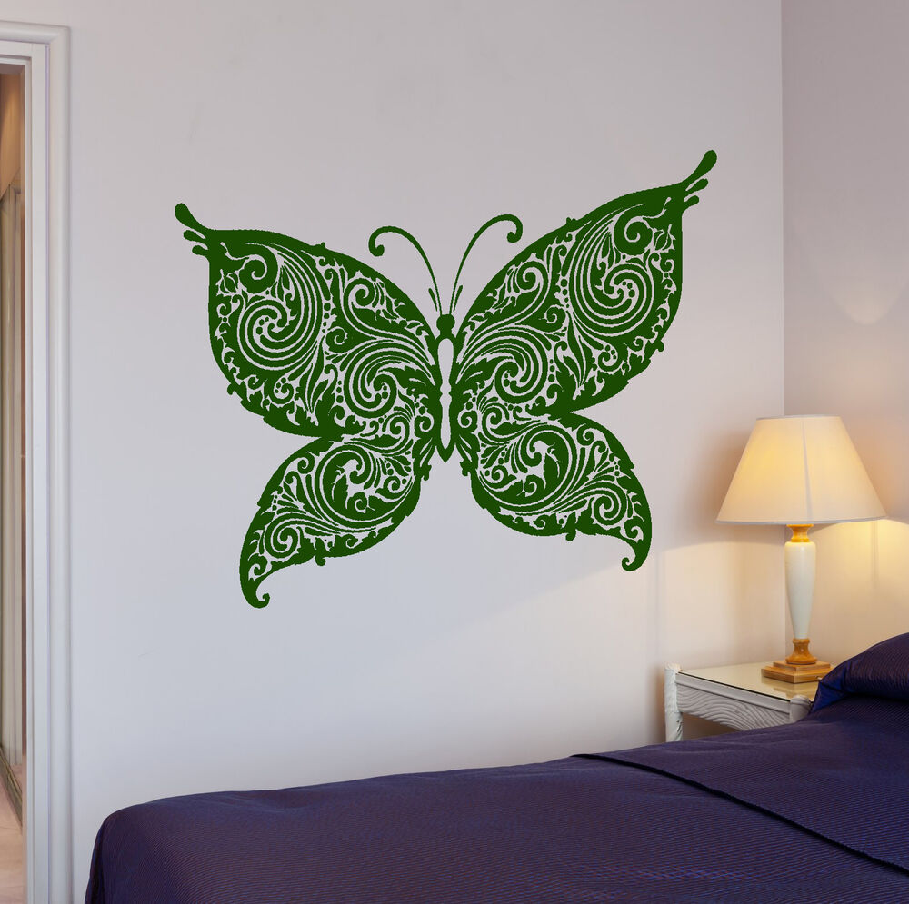 Wall stickers beautiful butterfly tribal decor living room for Room decor stickers