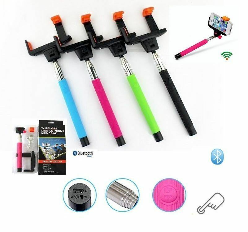 extendable selfie stick bluetooh phone holder remote shutter iphone ebay. Black Bedroom Furniture Sets. Home Design Ideas