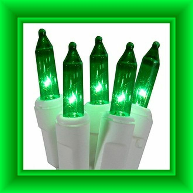 volt replacement christmas mini lights 50 green bulbs white. Black Bedroom Furniture Sets. Home Design Ideas