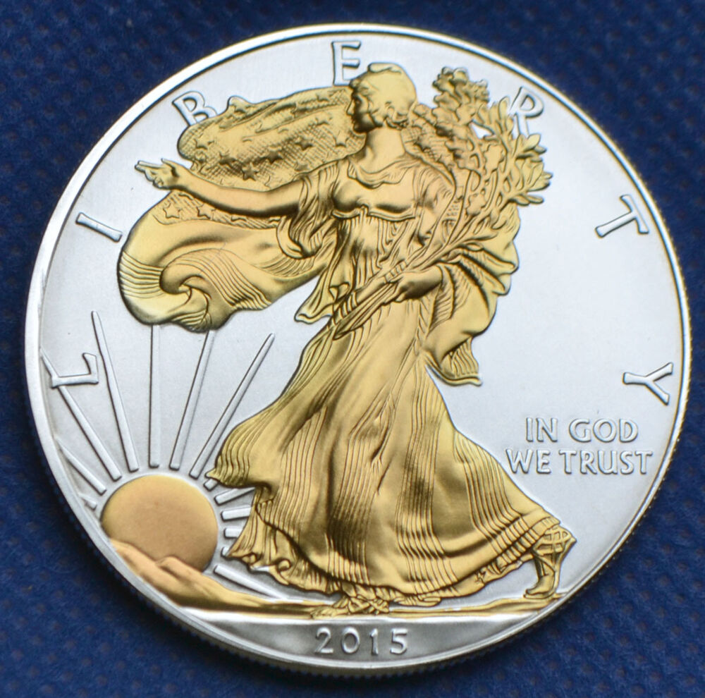 Double Gold Platinum: 2015 GILDED 1 OZ AMERICAN SILVER EAGLE 24K GOLD DOUBLE