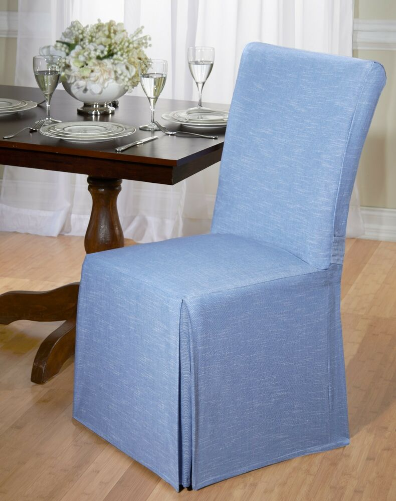 Luxurious cotton dining chair cover chambray back tie for Dining room chair covers