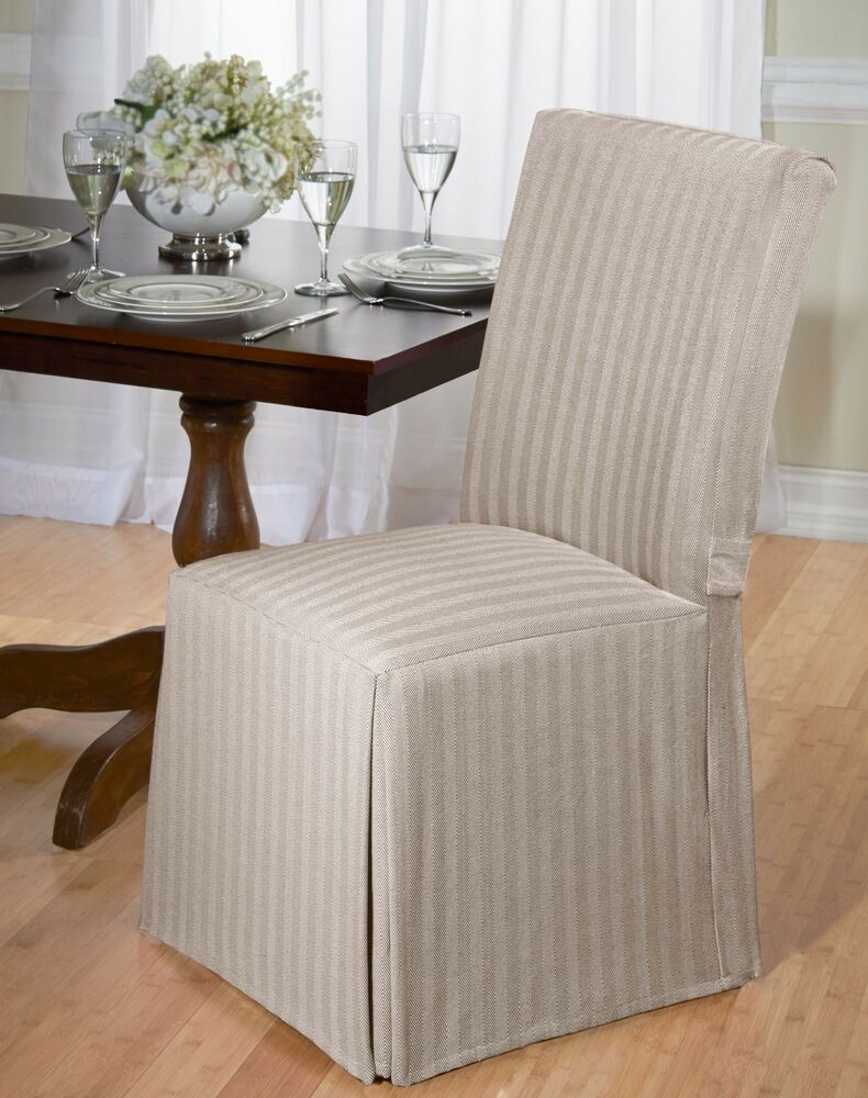 dining room chair back covers | LUXURIOUS COTTON DINING CHAIR COVER, HERRINGBONE, BACK TIE ...