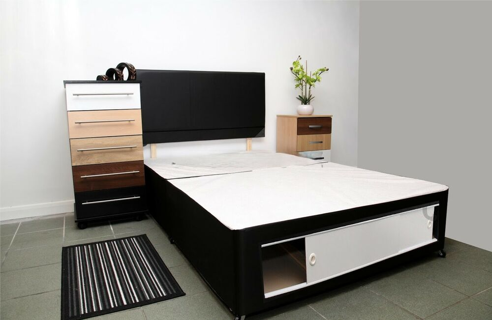 Divan bed base in cream single double king size storage for Single divan bed base with storage