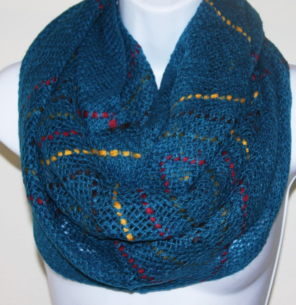 Women Fashion Fancy Knit Infinity Scarf With Color Lines Blue Ebay