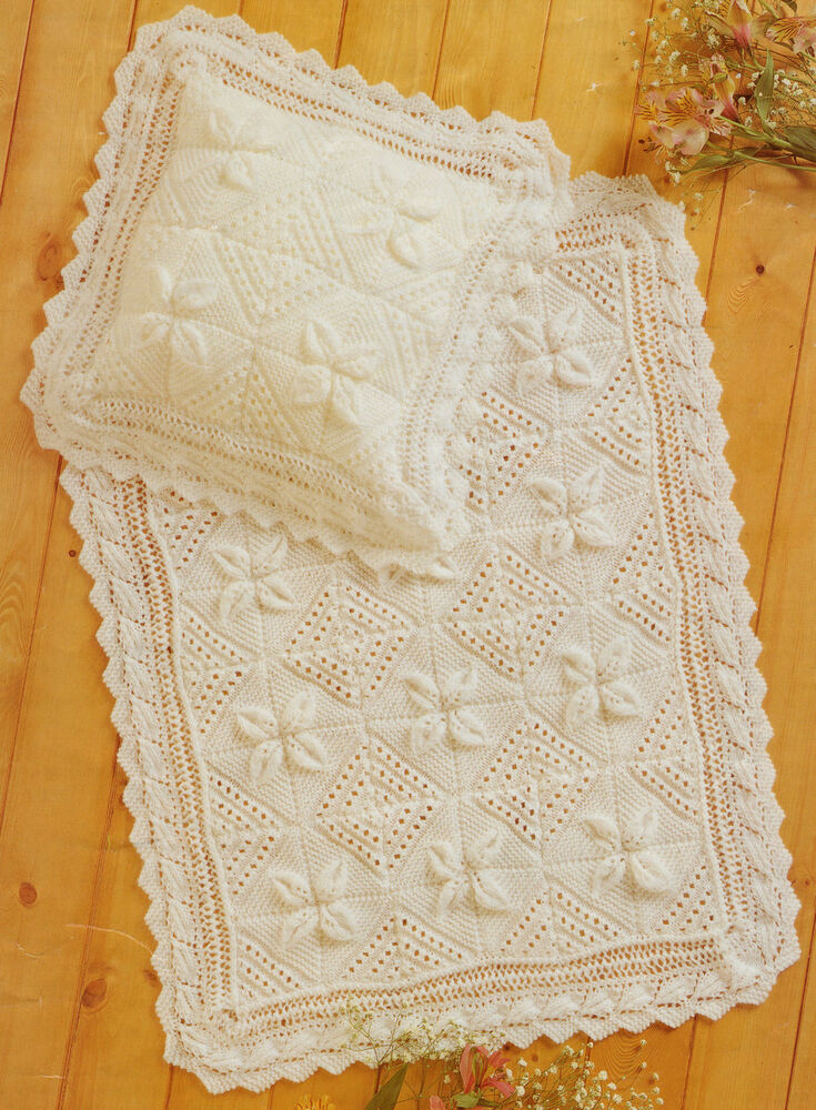 Knitting Pattern For Leaf Design Baby Blanket : Lace Leaf Squares Baby Blanket & Pillowcase ~ Leaf Edging - DK Knitting P...
