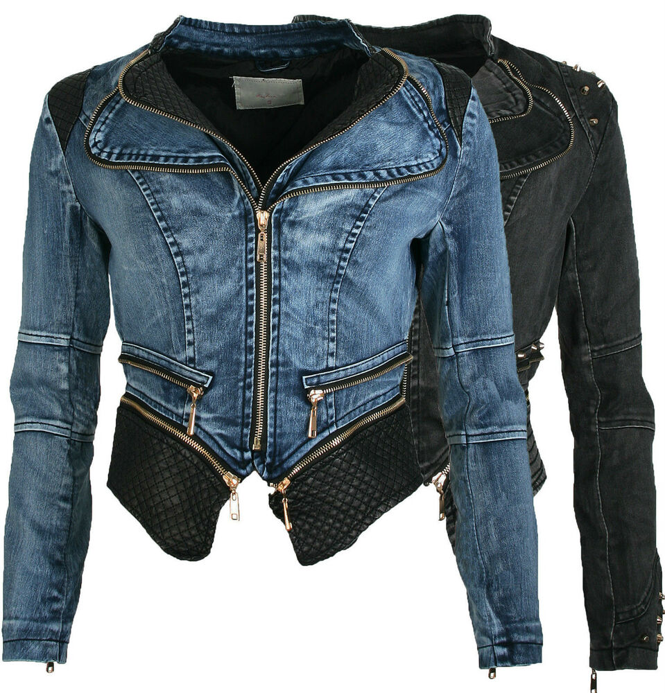damen jeansjacke denim blazer biker jacke kurz nieten blau. Black Bedroom Furniture Sets. Home Design Ideas