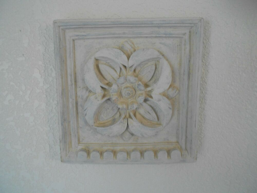 Plaster Floral Wall Art Sculpture 10 X 10 Shabby Cottage