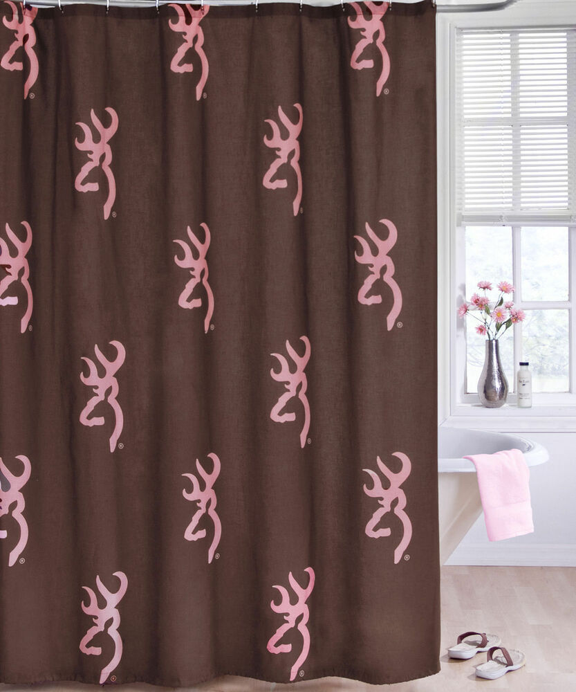 BROWNING BUCKMARK PINK BROWN SHOWER CURTAIN BATH ACCESSORY EBay