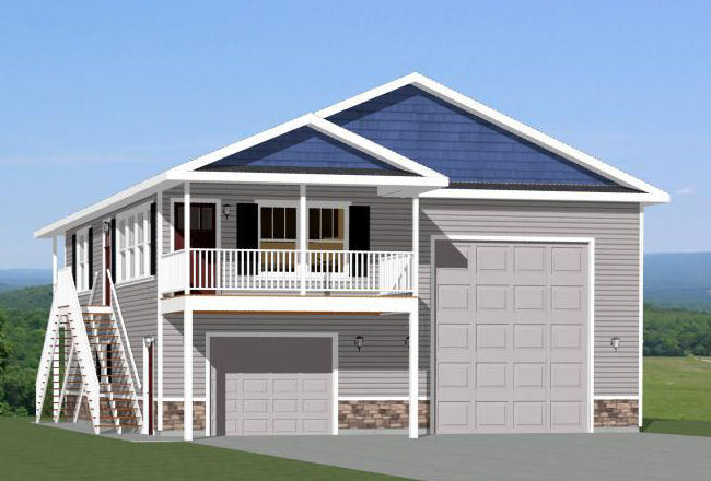 36x40 apartment with 1 car 1 rv garage pdf floor plan for Garage with living quarters one level