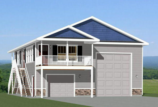 36x40 apartment with 1 car 1 rv garage pdf floor plan for Rv garage plans with living space