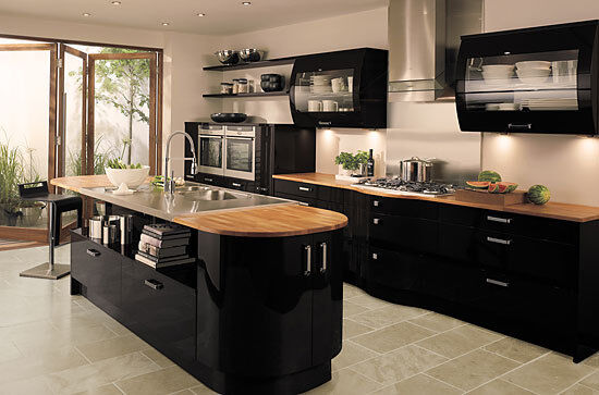 Kitchen cupboard doors units wall draws cover self for Beautiful black kitchens