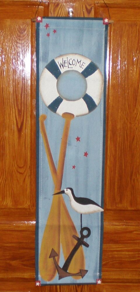 Welcome nautical sign lifering anchor oars beach seaside for Anchor decoration for the home