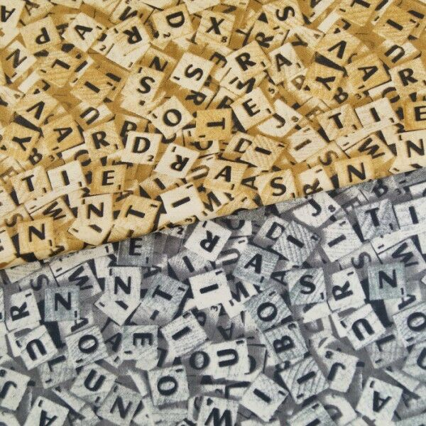 scrabble tiles board game 100 cotton poplin fabric craft material