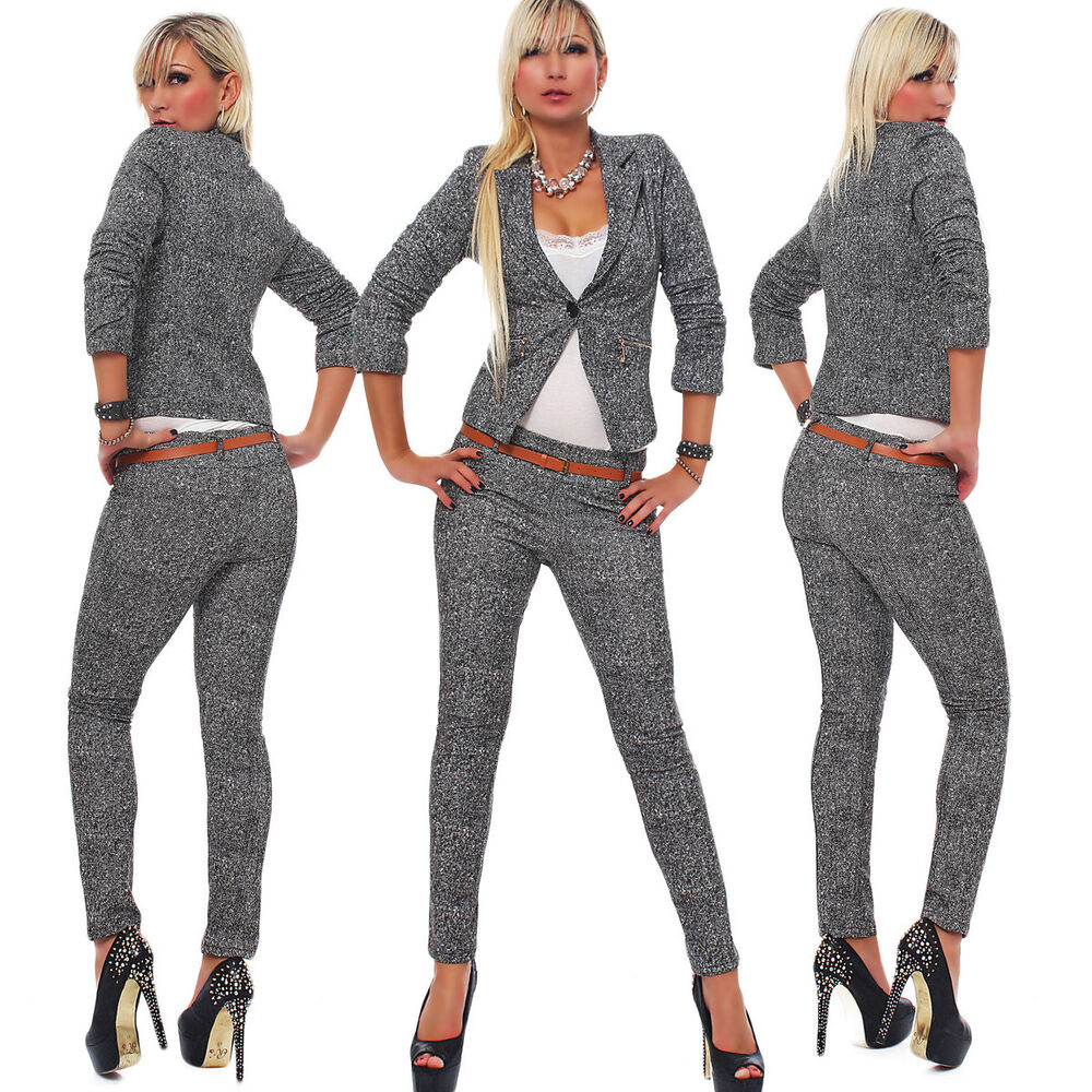 4417 business anzug hosenanzug hose und blazer weste jacke in grau 4 gr en ebay. Black Bedroom Furniture Sets. Home Design Ideas