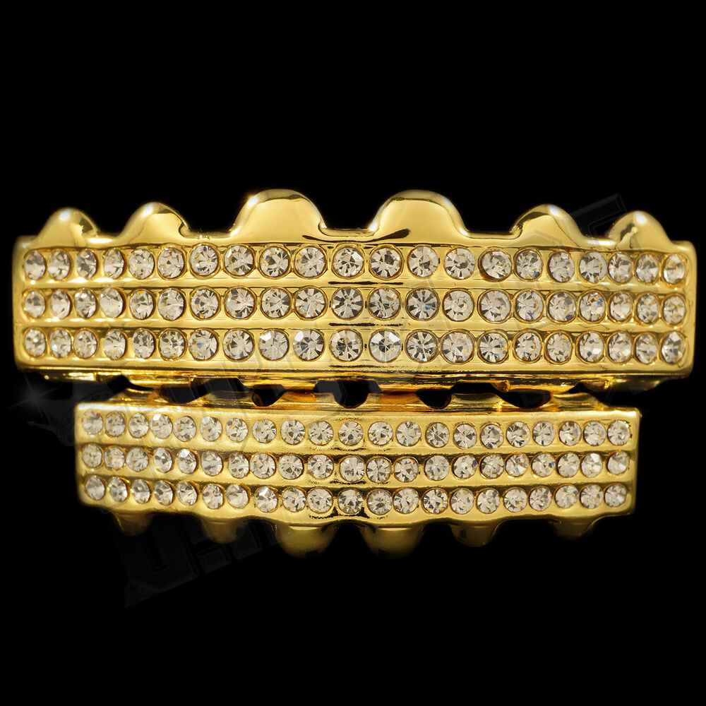 K gold plated iced out grillz cz top bottom set bling