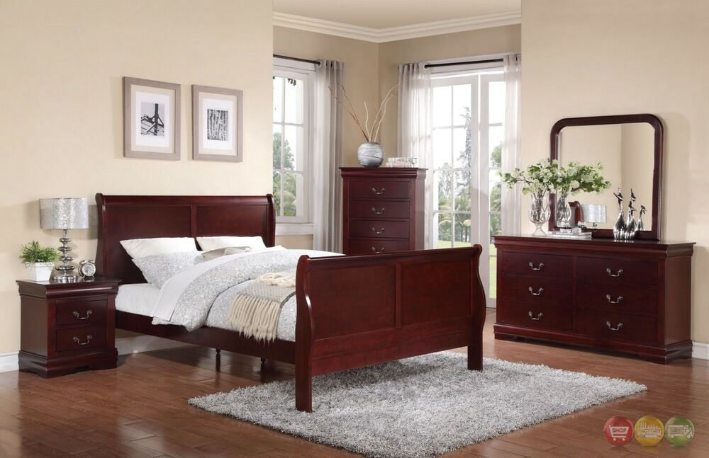 louis phillipe queen sleigh bed 5 piece bedroom furniture set w chest new ebay. Black Bedroom Furniture Sets. Home Design Ideas