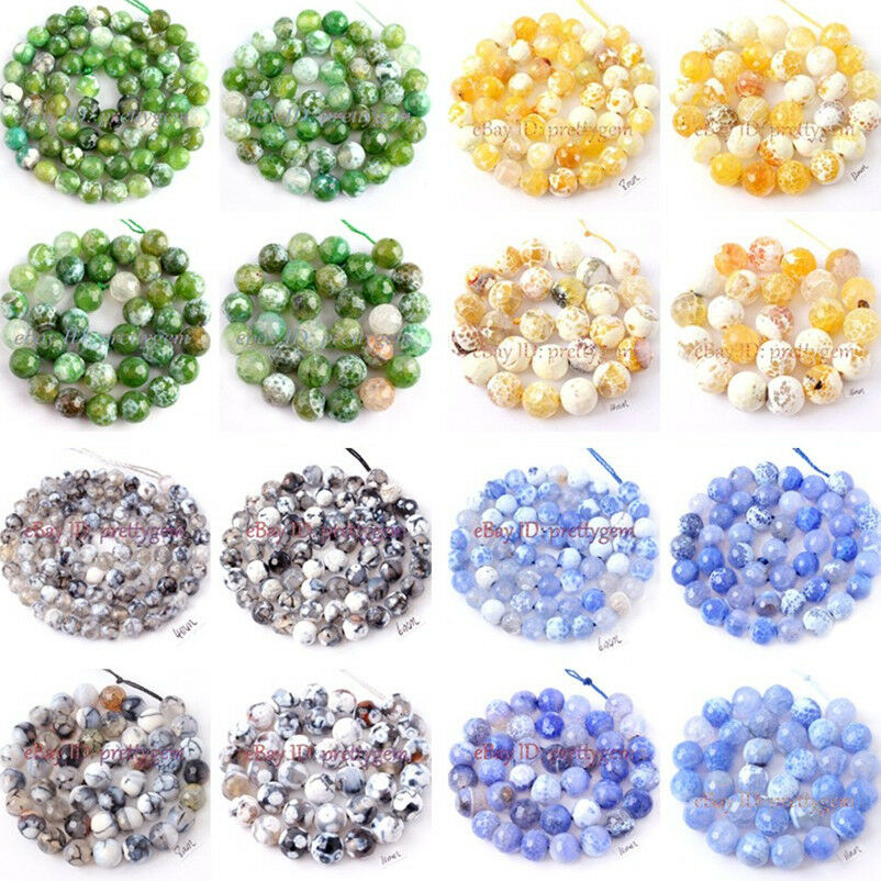 Faceted round cracked agate jewelry making spacer gemstone for Birthstone beads for jewelry making