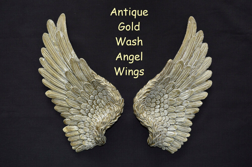 Vintage antique shabby chic gold angel wings wall art for Angel wings wall decoration uk