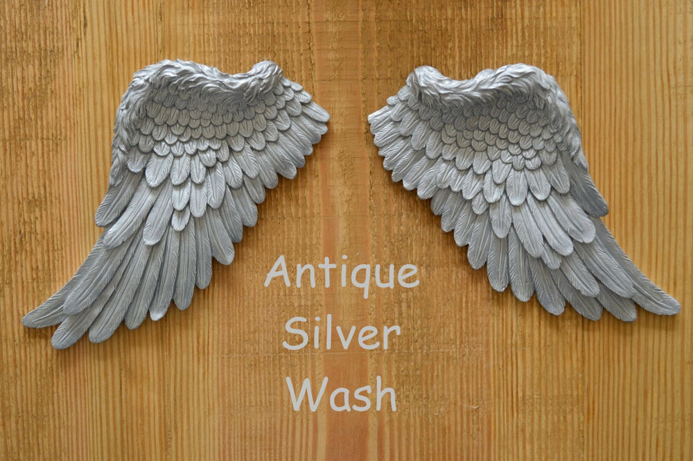 Vintage antique shabby chic silver angel wings wall art for Angel wings wall decoration uk
