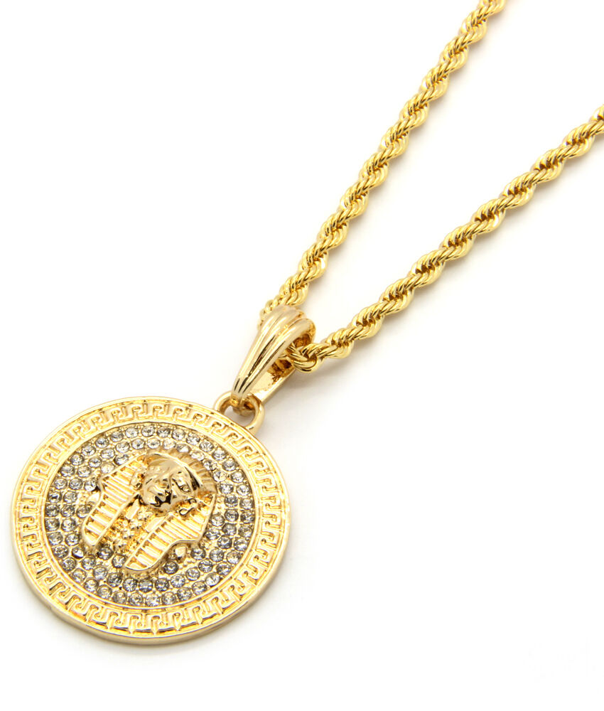 mens medallion pharaoh gold clear 24 quot rope chain pendant
