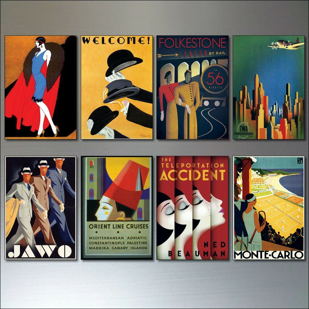Art Deco Posters: Art Deco Vintage Posters Set Of 8 Retro Reproduction