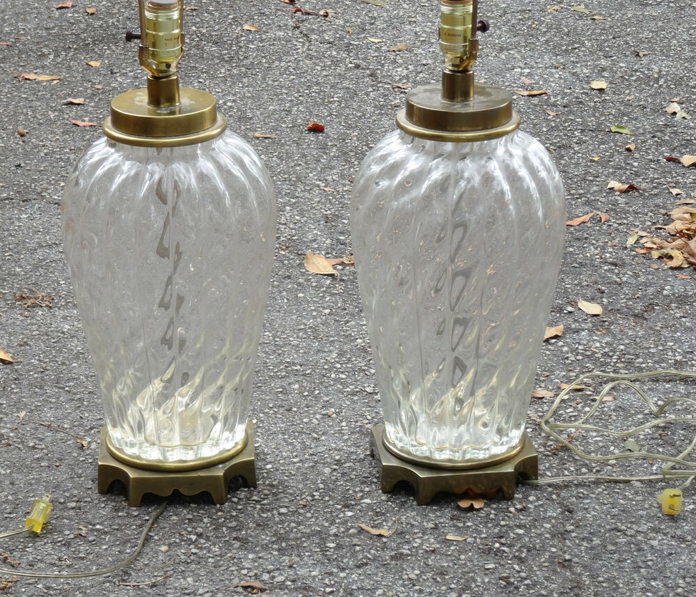 Rare Pair Of 60s Mcm Paul Hanson Fluted Glass Table Lamps