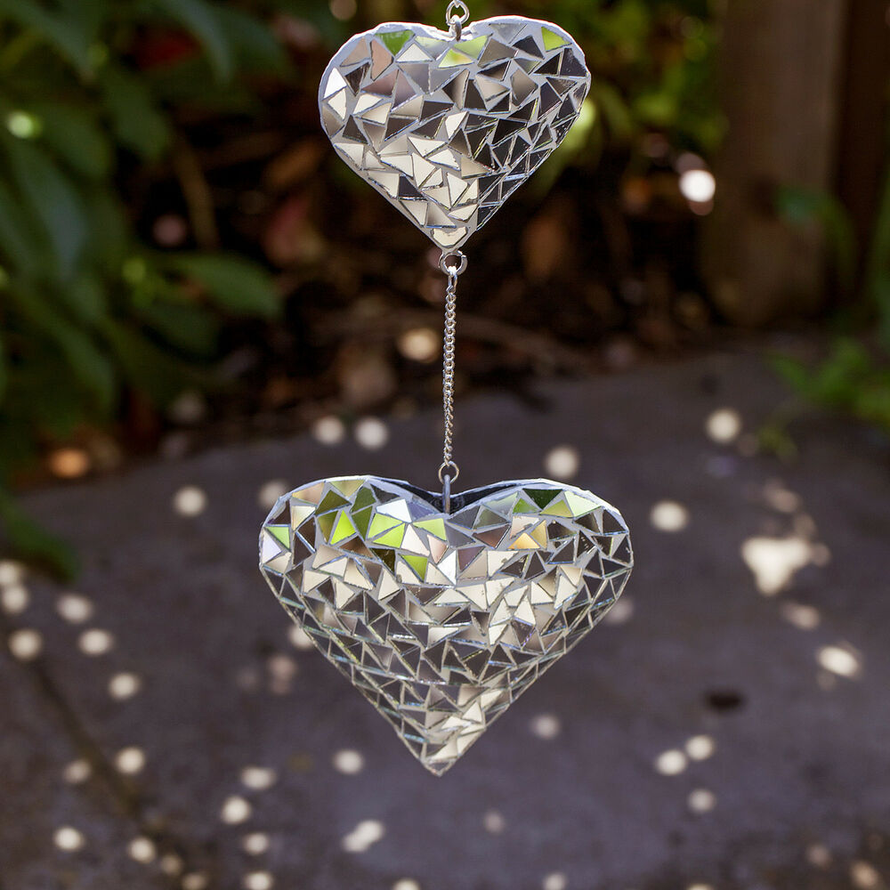 Silver mosaic mirror hanging suncatcher duo heart mobile for Hanging garden ornaments