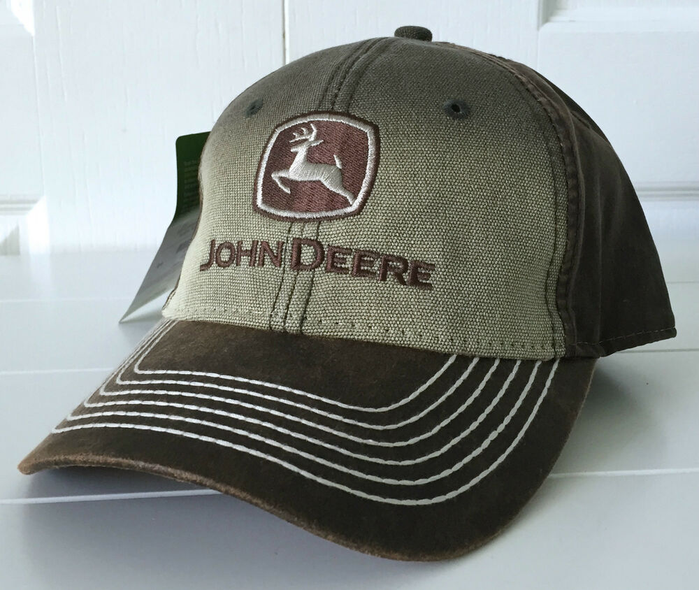 John Deere Brown Canvas Washed Hat Cap W Contrast