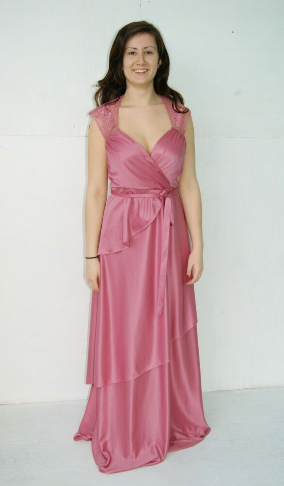 vintage 70s pink goddess peplum prom dress formal gown