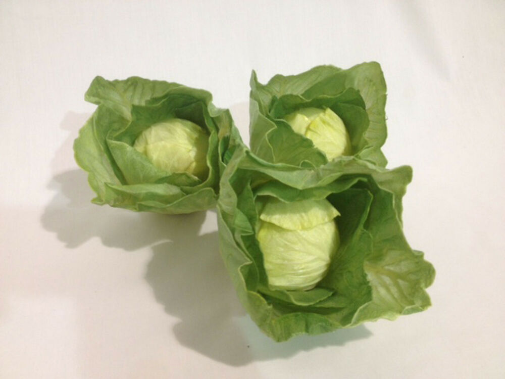 Artificial Small Cabbage Head Or Lettuce Head 3 Pack Decorative Fake Vegetable Ebay