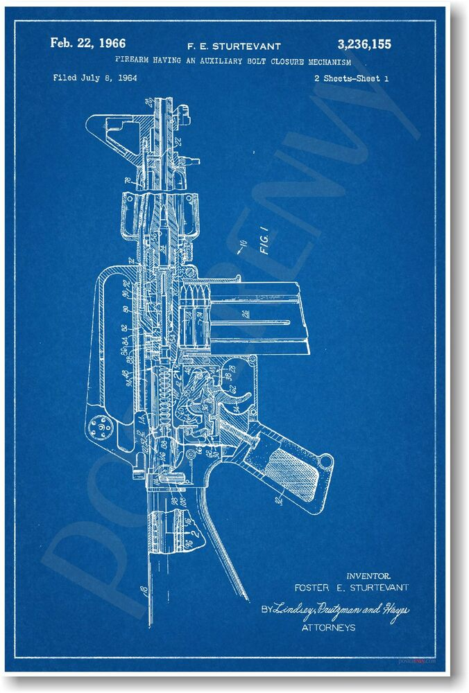 Ar 15 Assault Rifle Gun Patent New Invention Patent Art