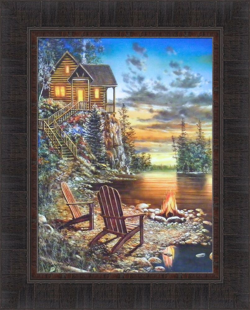 Summer Pleasures By Jim Hansel 17x21 Log Cabin Lake