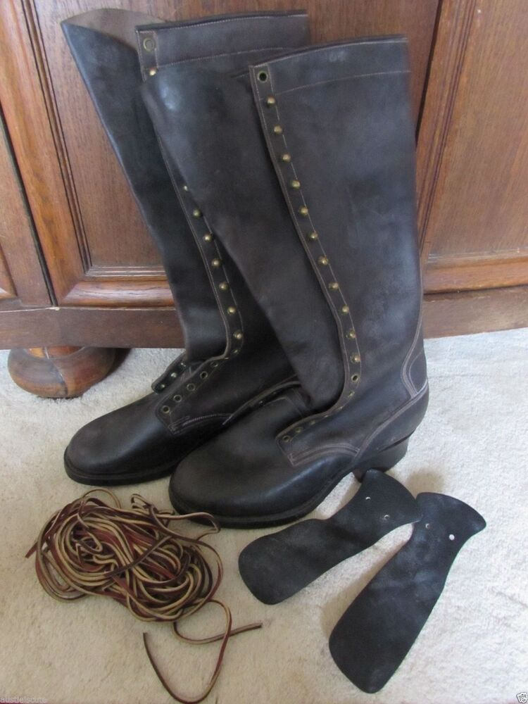 Vintage Aa Cutter Co Logger Hunter 17 Cork Boots Size 8