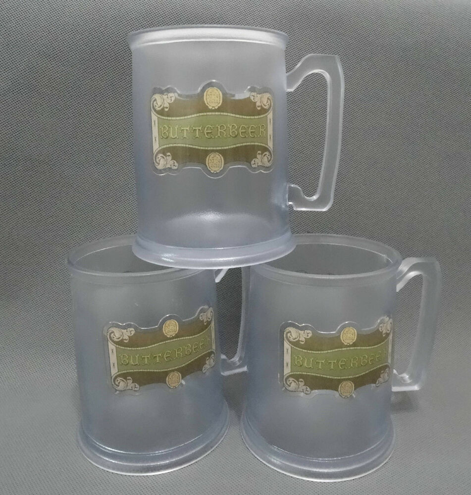 lot of 3 butterbeer plastic mug cup wizarding world harry