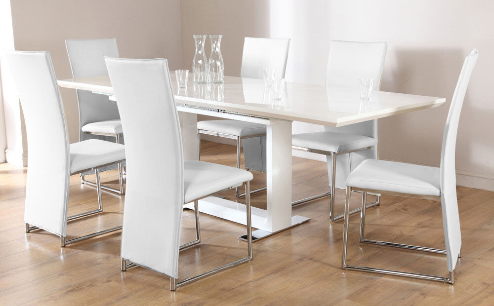 Tokyo athens extending white high gloss dining table 4 for White extending dining table