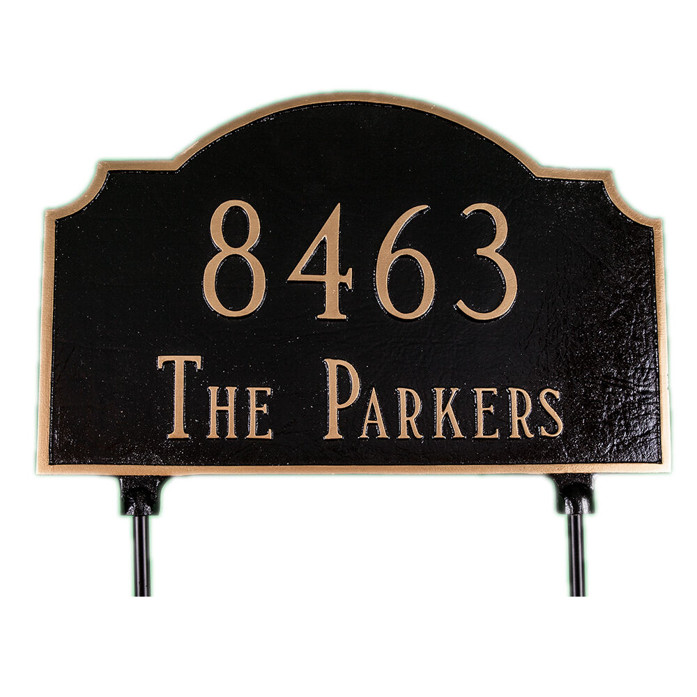 Two sided address plaque lawn house sign numbers custom - House number signs for yard ...