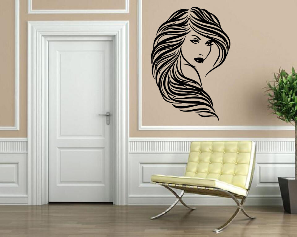 Beautiful girl wavy hair salon wall decor mural vinyl for Salon pictures for wall
