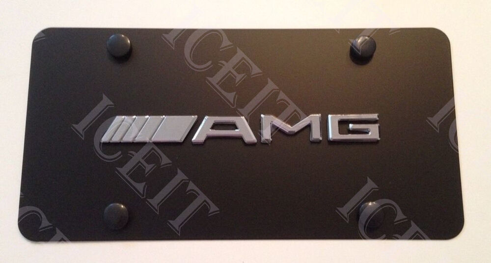 Amg mercedes front black stainless steel heavy duty 1mm for Mercedes benz tag screws