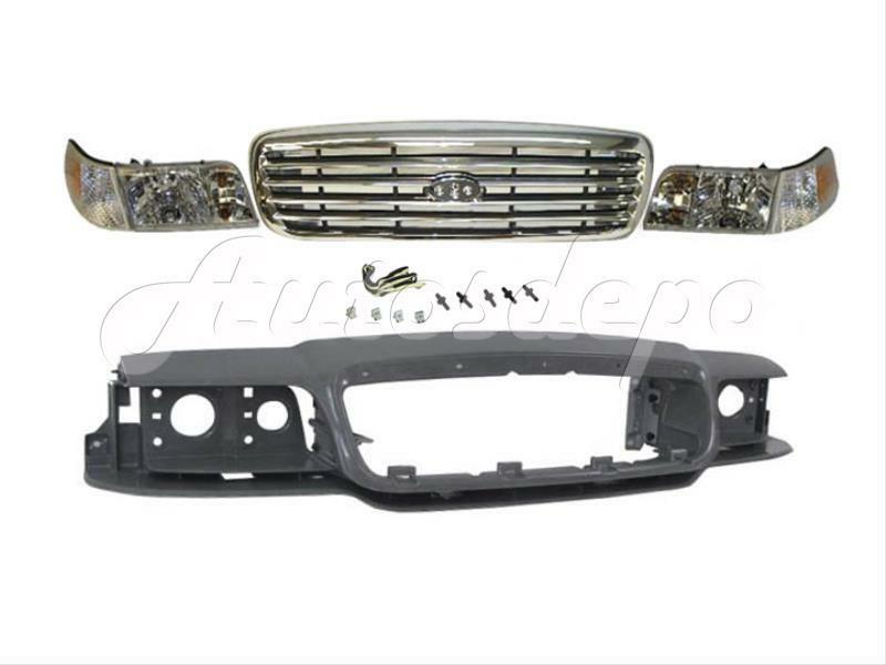 1998 2011 crown victoria header panel grille chrome headlight corner light 6pcs ebay. Black Bedroom Furniture Sets. Home Design Ideas